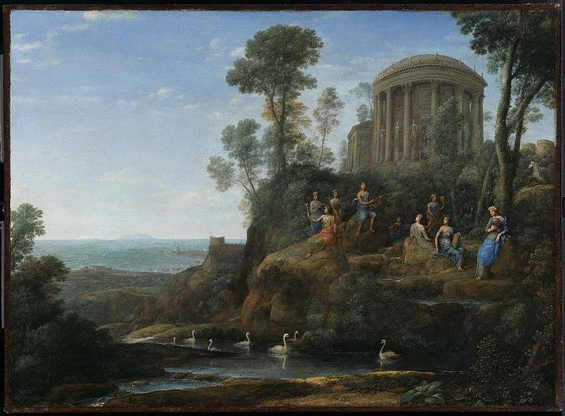 Peinture de Claude Lorrain, montrant Apollon et ses muses sur le mont Hélicon
